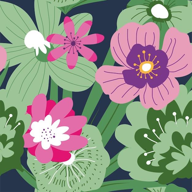 豊かな緑と葉を持つエキゾチックな咲くピンクと紫の花。熱帯植物、花の背景または壁紙。ロマンチックなブーケやフェミニンな質感。シームレスなパターン、フラットスタイルのベクトル