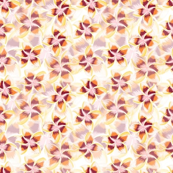 Exotic blossom plumeria seamless pattern. tropical hibiscus flowers wallpaper. abstract botanical backdrop. design for fabric , textile print, wrapping, cover. vector illustration.