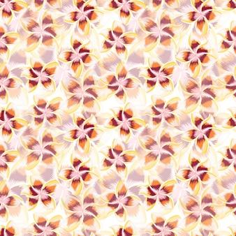 Экзотические цветы плюмерии бесшовные модели. обои для рабочего стола тропические цветы гибискуса. абстрактный ботанический фон. дизайн для ткани, текстильный принт, упаковка, обложка. векторная иллюстрация.