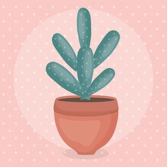 Экзотический кактус в керамическом горшке
