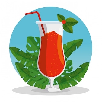 Exotic cocktail beverage with tropical leaves