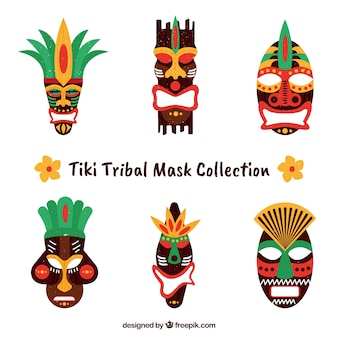 Exotic collection of tribal tiki masks