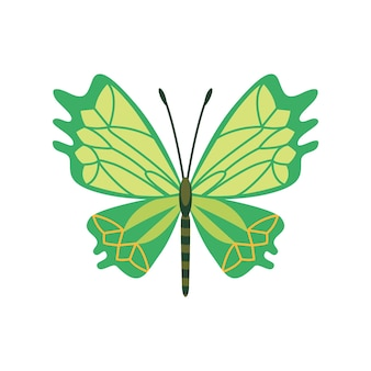 Exotic color butterfly. hand drawn moth wings or insect. cartoon tropical animal. isolated vector icon