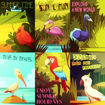 Exotic colorful birds 6 posters composition with cockatoo parrot  pelican and flamingo