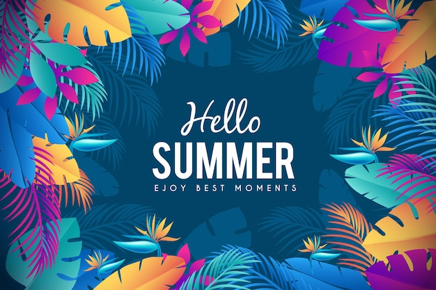 Exotic colourful leaves summer time background