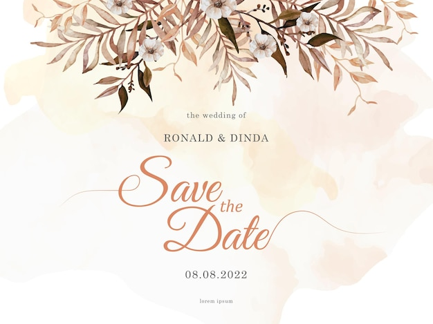 Exotic dried florals painting with splash watercolor on wedding invitation card