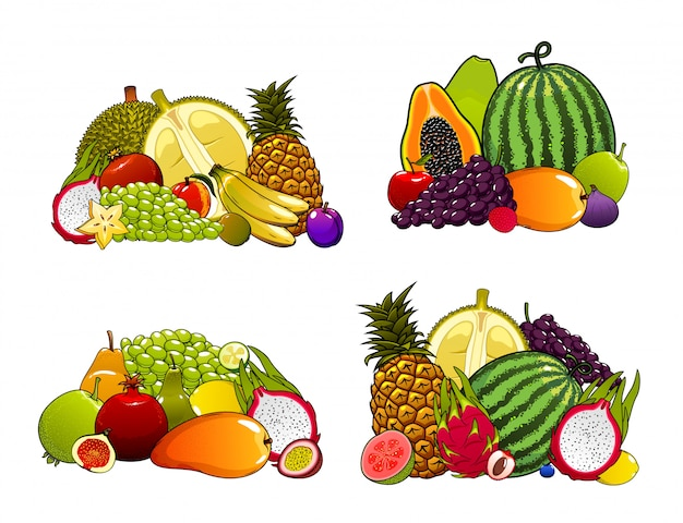 Exotic farm fruits set