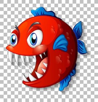 透明な背景に大きな目の漫画のキャラクターとエキゾチックな魚