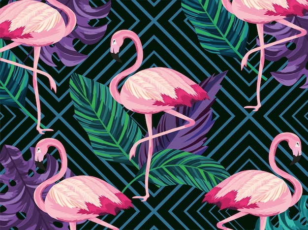 Exotic flamingos animals and leaves background