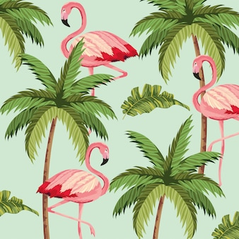 Exotic flamingos with palm tree background