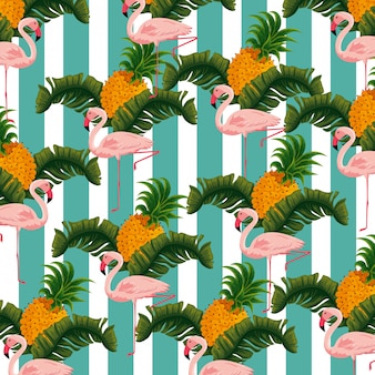 Exotic flamish with pineapples and leaves background