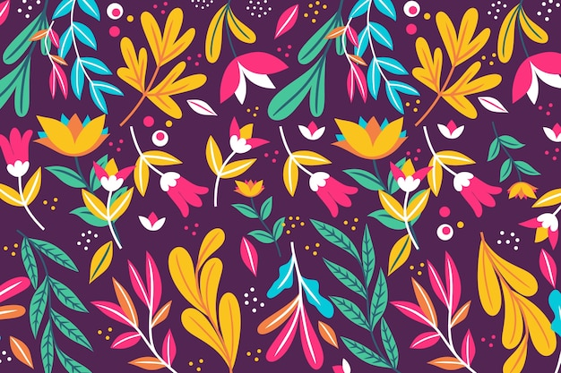 Exotic floral background with leaves