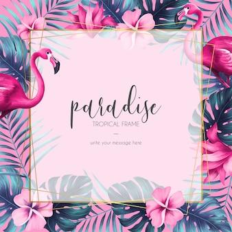 Cornice floreale esotica con natura rosa e fenicottero