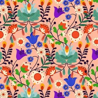 그린 이국적인 꽃 패턴