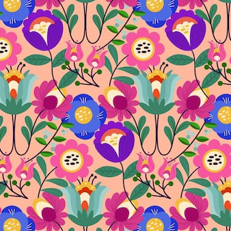 Exotic floral pattern painted