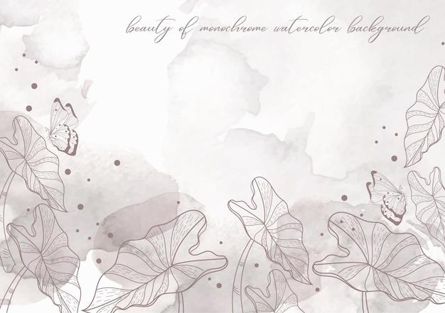 Экзотический цветочный вектор на фоне акварель всплеск