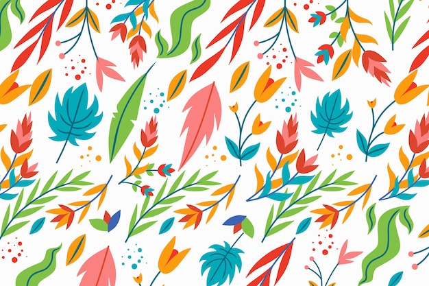 Exotic floral white background with leaves