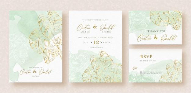 Exotic floral with green splash on wedding invitation