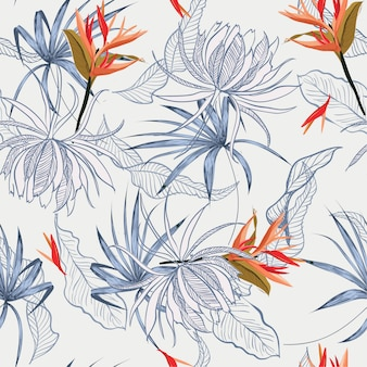 이국적인 꽃과 나뭇잎 원활한 패턴