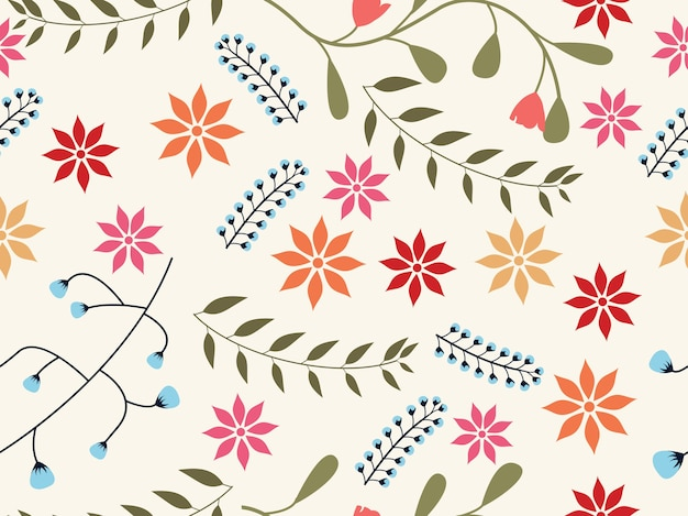 エキゾチックな花の花の葉のシームレスなパターン
