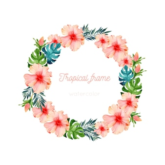 Exotic flower watercolor wreath template