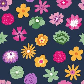 이국적인 꽃과 열대 꽃이 매끄러운 패턴입니다. 하와이 장식 식물, 벽지 또는 배경. 카드 또는 포장지로 인쇄하십시오. 장미 장식품이 있는 섬유. 평면 스타일의 벡터