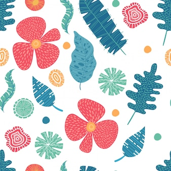 Exotic flowers hibiscus and plumeria banana leaves blue lime color tropical seamless pattern. beach party background