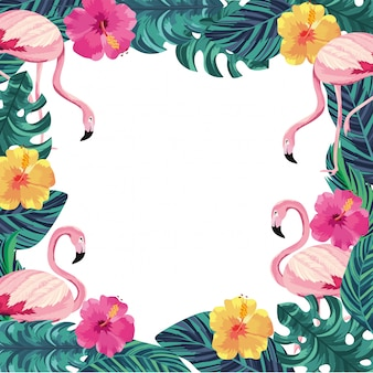 Exotic flowers with flamingos animals and leaves