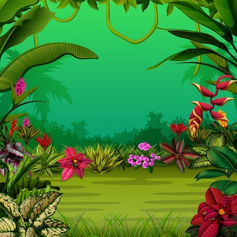 Exotic forest with the trees and the flowers