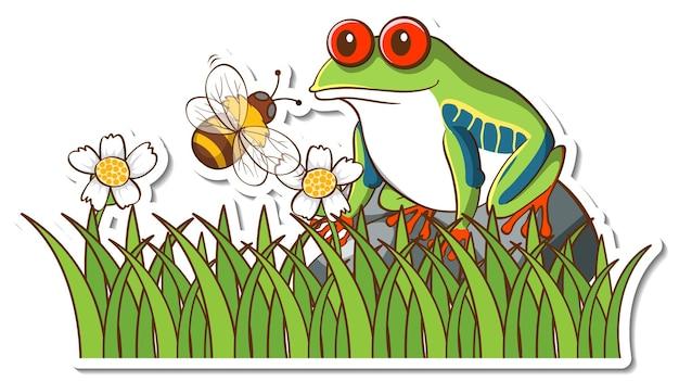 풀밭에서 이국적인 개구리 스티커