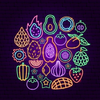 Exotic fruit neon concept. vector illustration of tropical promotion.