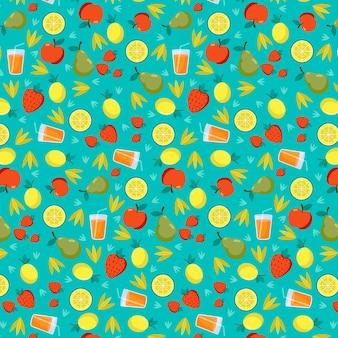 Экзотические фрукты бесшовные коллекция и сок