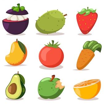 Установленные значки шаржа экзотических фруктов и овощей плоские изолированными на белизне.