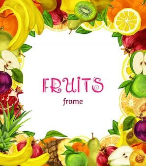 Exotic fruits frame background