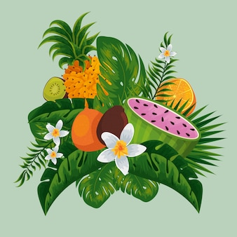 Exotic fruits in the tropical leaves and flowers