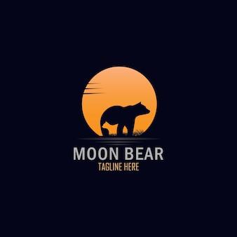 Экзотическая полная луна и медведь с дизайном логотипа детенышей