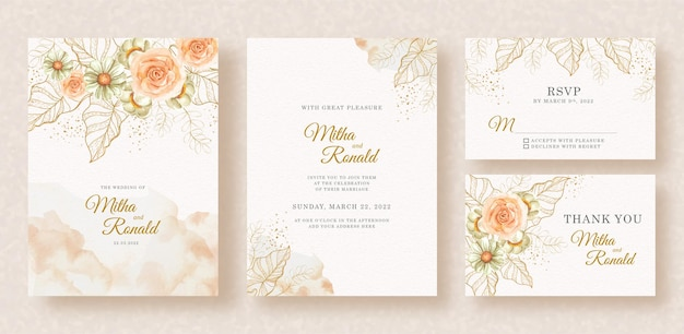 Exotic gold flowers and leaves shapes with splash painting on wedding invitation backgroun