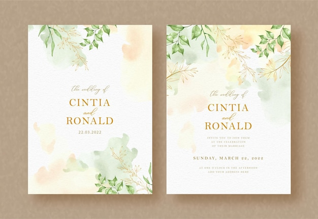 Exotic green leaves and branch painting on wedding invitation background