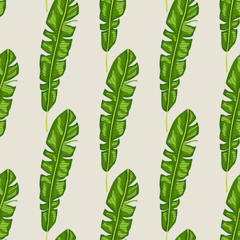 Exotic jungle seamless pattern with bright green tropic leaf elements shapes.