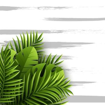 エキゾチックなジャングルの熱帯のヤシの葉。グランジテクスチャ、イラストと花の背景。