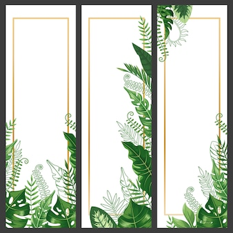 Exotic leaves banner. tropical monstera leaf, palm branch and vintage hawaii nature plants vertical banners set