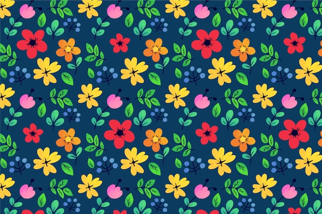 Exotic leaves and flowers ditsy loop pattern background