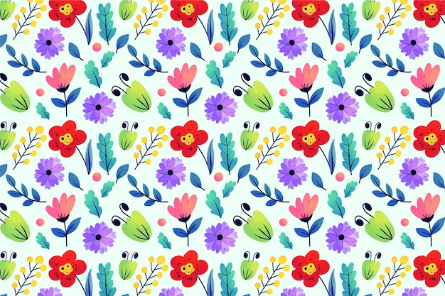 Exotic leaves and flowers ditsy print effect background