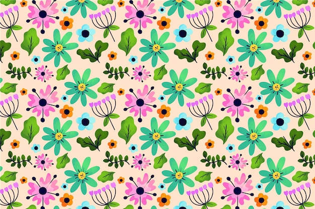 Exotic leaves and flowers ditsy print