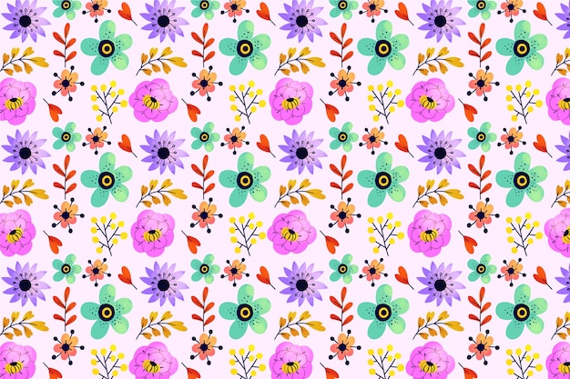 Exotic leaves and flowers ditsy seamless pattern background