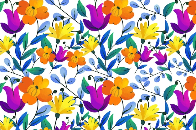 Exotic leaves and flowers loop pattern background