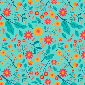 Exotic leaves and flowers pattern