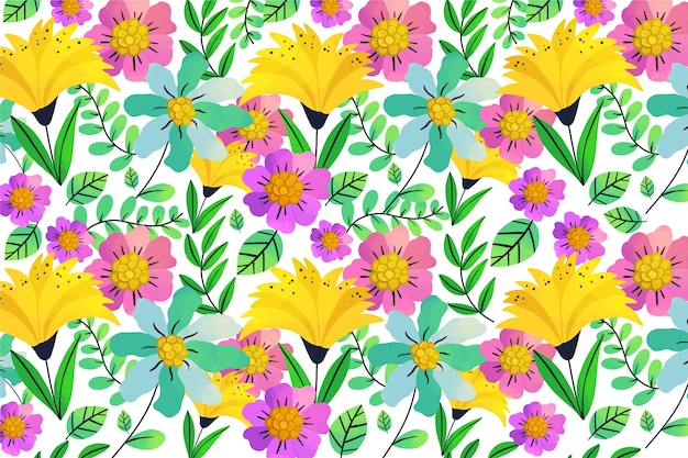 Exotic leaves and flowers seamless pattern background