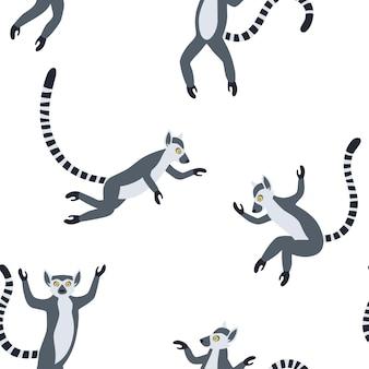 長い縞模様の尾を持つエキゾチックなマダガスカルのキツネザル。手描きのベクトルのシームレスなパターン