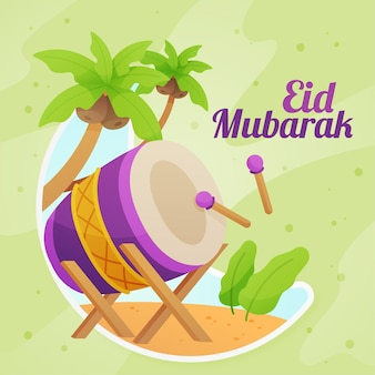 Exotic musical percussion instrument eid mubarak